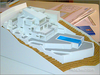 Scale model of the villa construction project